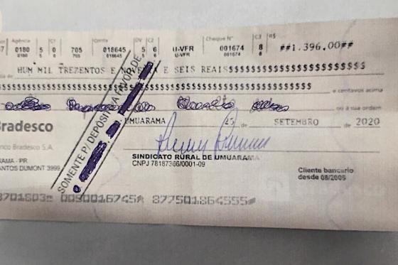 Estelionatários usam cheques falsos em nome do Sindicato Rural